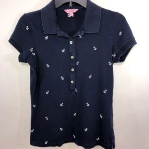 Lilly Pulitzer Women's Blue Polo Shirt Size S
